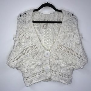 Chunky Bobble Knit Shrug Cardigan